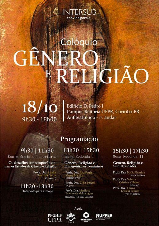 """cartaz do evento apresenta o título """"Gênero e Religião"""" sobre pintura de uma pessoa de perfil"""