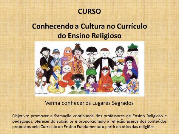 imagem com a ilustração de várias crianças representando as variadas religiões, com a escrita de que objetivo do curso é promover a formação dos professores e a reflexão sobre os conteúdos a partir da diversidade religiosa