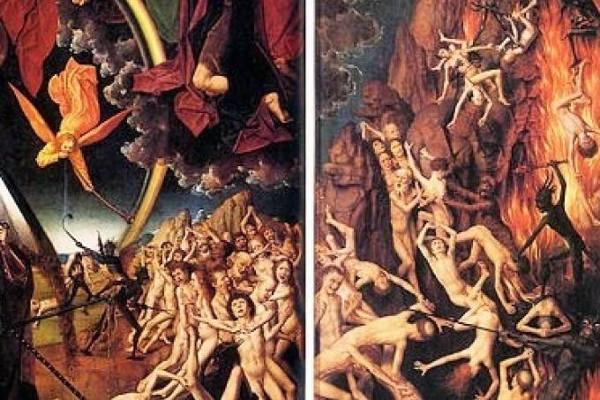 anjos e seres, com chamas, representando o inferno