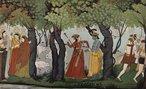 Pintura tradicional do século XVII, de 16,8 × 27,1 cm., de Indischer Maler (1770). <br><br/> Krishna (à esquerda), a oitava encarnação (avatar) de Vishnu, ou svaym bhagavan, com sua consorte, Rada - venerada como Radha Krishna em diversas tradições.  <br><br> Palavras-chave: Krishna, Râdhâ, Vishnu, tradições, pintura, encarnação, Hinduísmo.
