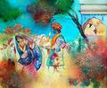 O Lahtmar Holi, ou o Festival das Cores, é comemorado em várias cidades indianas por crianças e adultos há mais de 2 mil anos. Durante os dias do festival as pessoas saem às ruas vestidas de branco levando tintas em pó e pistolas de água para colorir umas as outras. O objetivo é celebrar a igualdade, o amor e a união de todas as cores.<br><br> Palavras-chave: Índia, primavera, festa, ritual, religioso, hinduista, cores, tradição, Lahtmar Holi, Festival das Cores, castas