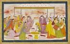 Radha celebrating Holi, c1788. Kangra, India. Victoria Albert Museum.  Na Índia, entre fevereiro e março, a chegada da primavera é recebida com uma festa multicolorida e um ritual religioso hinduista da celebração da vitória entre o bem e o mal. . E é o único dia em que todas as castas podem se juntar. <br><br> Palavras-chave: Índia, primavera, festa, ritual, religioso, hinduista, cores, tradição, Lahtmar Holi, Festival das Cores, castas