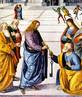 Cristo entrega as chaves do céu a Pedro (Perugino, Capela Sistina).<br><br>Palavras-chave: São Pedro. Jesus Cristo. Cristianismo. Católico.