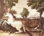 O unicórnio é uma das representações que se atribui significados. Oriundo também da mitologia grega, na Idade Média, estava associado à pureza da virgindade; portanto, é comum encontrá-lo retratado junto a uma dama. Por outro lado, na heráldica, pode representar a nobreza e a virilidade. Ainda, há a lenda de que seu chifre é capaz de neutralizar qualquer veneno e curar todas as doenças. Pintura de Domenico Zampieri. <br><br> Palavras-chave: símbolo sagrado, bestiário medieval