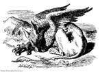 O Grifo é um personagem fictício inventado por Lewis Carroll no popular livro &quot;As aventuras de Alice no País das Maravilhas&quot;. Fiel à visão convencional de um grifo, ele tem a cabeça, garras e asas de águia e corpo de leão.  <br><br/> Palavras-chave: Grifo, personagem, lendas, Lewis Carroll