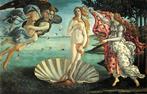 O Nascimento de Vênus, de Botticelli (1485–1486, têmpera sobre tela, Uffizi, Florença) é uma Vênus Pudica revivida para um novo ponto de vista da antiguidade pagã: muitos a compreendem como o resumo do espírito renascentista.<br><br>Palavras-chave: Vênus, símbolo sagrado, mitologia