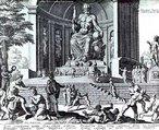 Uma reconstrução fantasiosa de Fídias, estátua de Zeus, em uma gravação feita por Philippe Galle em 1572, a partir de um desenho de Maarten van Heemskerck. <br><br> Palavras-chave: Zeus, mitologia, desenho, gravura.
